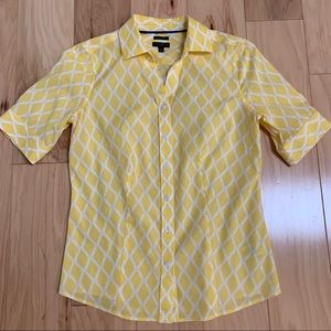 Talbots Yellow Button Down Short Sleeve Blouse